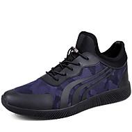 גברים-נעלי אתלטיקה-עור-סוליות מוארות-שחור כחול-שטח יומיומי-עקב שטוח