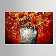 Handgeschilderde Stilleven Bloemenmotief/Botanisch Horizontaal,Modern Pastoraal Eén paneel Canvas Hang-geschilderd olieverfschilderij For