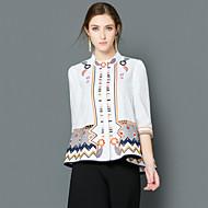 Feminino Camisa Social Para Noite Casual Trabalho Boho Moda de Rua Sofisticado Primavera Verão,Bordado Azul Branco Algodão Poliéster