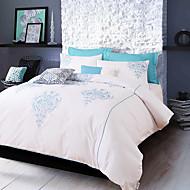 turqua TRADITIONAL Embroidered 100% Cotton Classic Bedding 4pcs Set Duvet Cover Quilt Case Pillowcase Flat Sheet