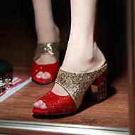 Feminino-Sandálias-Sapatos clube-Salto Grosso-Preto Vermelho-Gliter-Social Casual Festas & Noite