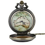 懐中時計 ネックレスウォッチ クォーツ 合金 バンド ビンテージ 世界地図柄 ブロンズ