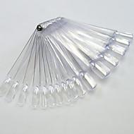 1set 50tips transparant / natrual nail art fan bord met metalen nagel manicure gereedschap nail art valse tips voor uv polish decoratie