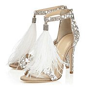 Women's Sandals Spring Summer Fall Fleece Wedding Dress Party & Evening Stiletto Heel Pearl Tassel White