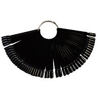 1set 50tips zwarte nail art fan board manicure gereedschappen met metalen ronde ring nagel valse tips voor uv polish decoratie