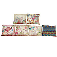 Set of 6 Bohemian style pattern  Linen Pillowcase Sofa Home Decor Cushion Cover