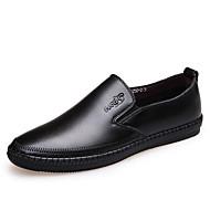 Черный КоричневыйДля прогулок Для офиса Повседневный Для вечеринки / ужина-Кожа-На плоской подошве-Мокасины Удобная обувь-Мокасины и