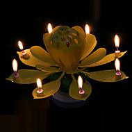 Rotation Two Layer Lotus Music Birthday Candles Creative Party Candles