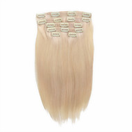 7 Pcs/Set #60 Platium Blonde Ash Blonde Clip In Hair Extensions 14Inch 18Inch 100% Human Hair
