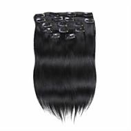 7pcs / set 14 tuuman clip ihmisen hiusten pidennykset 75g puhdasta väriä suorat hiukset