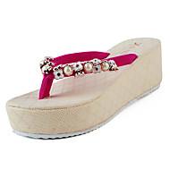 Papuče i japanke Proljeće Ljeto Udobne cipele PU Formalne prilike Ležeran Ravna potpetica Svjetlucave šljokice Crna Crvena