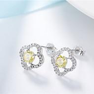 עגילים צמודים סגנון מינימליסטי אופנתי קריסטל כסף תכשיטים ל יומי קזו'אל 1 זוג