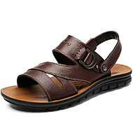 Men's Sandals Comfort Cowhide Spring Summer Fall Casual Outdoor Water Shoes Comfort Black Dark Brown 1in-1 3/4in