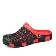 Γυναικεία παπούτσια-Σανδάλια-Ύπαιθρος Καθημερινό-Επίπεδο Τακούνι-Μονομάχου τρύπα Παπούτσια-Δερμάτινο-Κόκκινο Γκρι