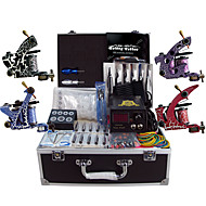 Complete Tattoo Kit 4 Pro Machine Power Supply Foot Pedal Needles Grips TK456