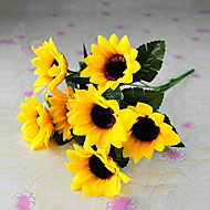6 päät maaseudun tyyli silkki kangas simulointi auringonkukkia keltainen