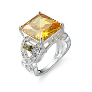 Gyűrű Eljegyzési gyűrű Kocka cirkónia elegáns luxus ékszer Cirkonium Kocka cirkónia Acél utánzat Diamond Square Shape Világosbarna