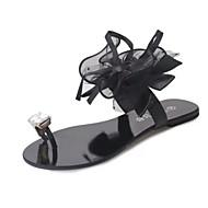 Naiset Sandaalit Comfort PU Kevät Kausaliteetti Comfort Tasapohja Musta Harmaa Tasapohja