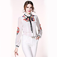Women's Casual/Daily Simple Spring Blouse,Embroidered Stand Long Sleeve Cotton Polyester Thin
