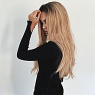Mulher Longo Preto / louro da morango Ondulado Cabelo Ombre Raizes das trevas Parte do meio Cabelo Sintético Sem Touca Peruca Natural