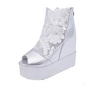 Kényelmes-Talp-Női cipő-Szandálok-Ruha Alkalmi-PU-Fekete Fehér Ezüst