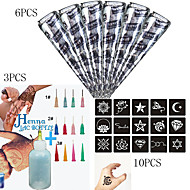 6 ks černá henna + 3ks aplikátor + 10CS plný vzorníku, mehndi body art set, tetování pasta kužely sexy