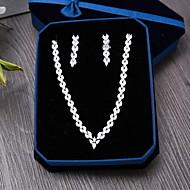 Kocka cirkónia Cirkonium Ezüst 1 Nyaklánc 1 Pár fülbevaló Mert Esküvő Parti Különleges alkalom Napi Hétköznapi 1set Esküvői ajándékok