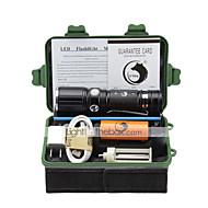 照明 LED懐中電灯 フラッシュライトキット LED 2000 ルーメン 3 モード Cree XM-L T6 18650 単四電池 26650 焦点調整可 クリップ キャンプ/ハイキング/ケイビング 日常使用 屋外 アルミ合金