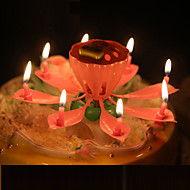 Single Layer Lotus Music Birthday Candles Fashion Flowers Party Candles