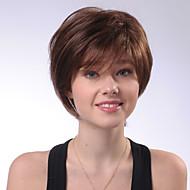 шик короткий естественные прямые коричневый монолитным парик человеческих волос для девочек и женщин 2017 года
