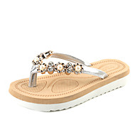 Women's Slippers & Flip-Flops Summer Light Soles PU Dress Casual Flat Heel Rhinestone Black Sliver Walking