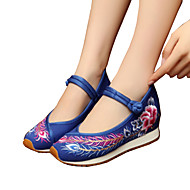 Women's Oxfords Spring Summer Fall Winter Comfort Novelty Embroidered Shoes Canvas Outdoor Athletic Casual Flat Heel Buckle FlowerBlack