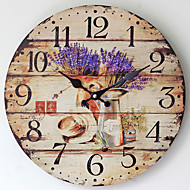 Traditional Country Antique Retro Holiday Family Lavender Wall ClockNovelty Wood Plastic 35*35 Indoor/Outdoor Indoor Clock