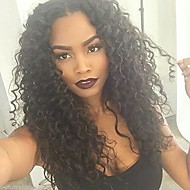 10-26 Inch 100% Human Virgin Hair Lace Wig Lace Front Natural Black Color Kinky Curly Lace  Wig-glueless with Baby Hair