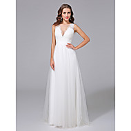 A-line Wedding Dress - Glamorous & Dramatic See-Through Wedding Dresses Sweep / Brush Train V-neck Lace / Tulle with Lace / Button
