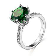 Gyűrű Smaragd Cirkonium Kocka cirkónia Acél Fehér Zöld Kék Ékszerek Napi 1db