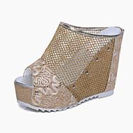 Damen-Slippers & Flip-Flops-Kleid Lässig-PU-Keilabsatz-Komfort-Schwarz Silber Gold