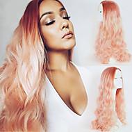 Pfirsich rosa ombre Kunsthaar Körperwellenspitze-Frontperücke langen natürlichen Haar zwei resistent Frisur Wärme Töne für Frauen