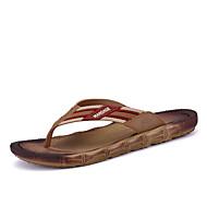 Γυναικεία παπούτσια-Παντόφλες & flip-flops-Ύπαιθρος Καθημερινό-Επίπεδο Τακούνι-Λουράκι στη Φτέρνα-Δέρμα Μικροΐνα-Μαύρο Καφέ