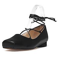 שטוחות-עור-גלדיאטור נעלי מועדון-שחור Almond-שטח שמלה יומיומי-עקב שטוח עקב נמוך עקב עבה