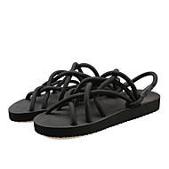 Women's Shoes Faux Leather Flat Heel Flip Flops Sandals Outdoor/Dress/Casual Black