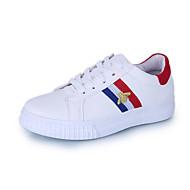 Damen Sneaker Komfort PU Frühling Walking Komfort Schnürsenkel Flacher Absatz Schwarz Rot Grün 2,5 - 4,5 cm