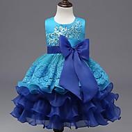 De Baile Até os Joelhos Vestido para Meninas das Flores - Organza Decorado com Bijuteria com Apliques Laço(s) Lantejoulas