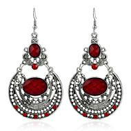 עגילים משתלשלים יהלום קריסטל מצופה כסף סגסוגת שחור אדום כהה תכשיטים ל חתונה Party קזו'אל 1 זוג