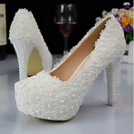 Women's Spring Summer Fall Winter Leather Lace Wedding Party & Evening Stiletto Heel Crystal Black Blue Pink Red White