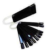 1set 24tips zwarte nail art fan board manicure gereedschap met plastic handvat nagel valse tips voor uv polish decoratie