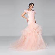 LAN TING BRIDE Fasciante Vestito da sposa - Glamour Scollatura posteriore Abiti sposa colorati Strascico di corte Drappeggiata Tulle con
