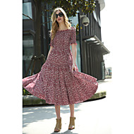 Women's Going out Casual/Daily Simple Street chic Sheath Dress,Print Round Neck Knee-length Short Sleeve Faux Fur Cotton Acrylic Polyester