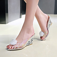 Women's Sandals Spring Summer Fall PVC Dress Casual Party & Evening Wedge Heel Flower Gold Silver
