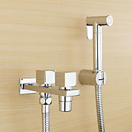 Contemporary Traditional  with  Chrome Two Handles One Hole    Feature  for Wall Mount Pull out